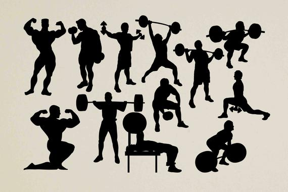 Silhouette svg workout body. Gym clipart builder
