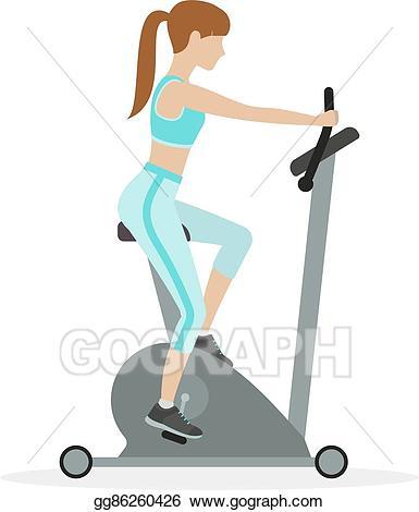 Gym clipart exercise machine. Eps illustration bike vector