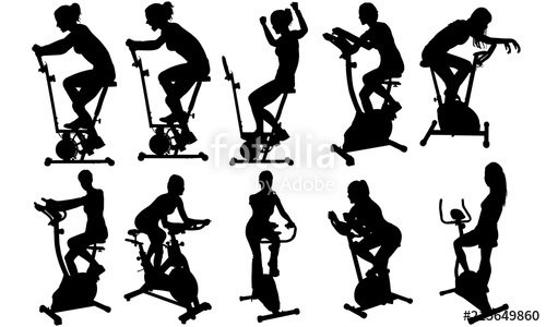 Gym clipart female fitness. Woman on exercycle silhouette