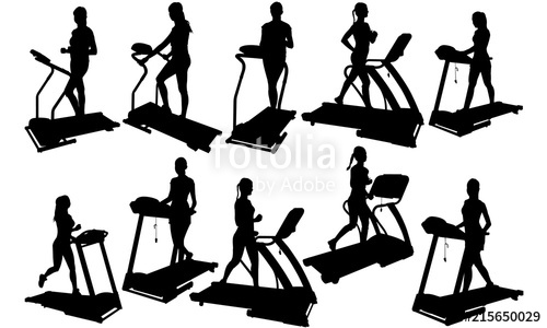 Woman on treadmill silhouette. Gym clipart female fitness
