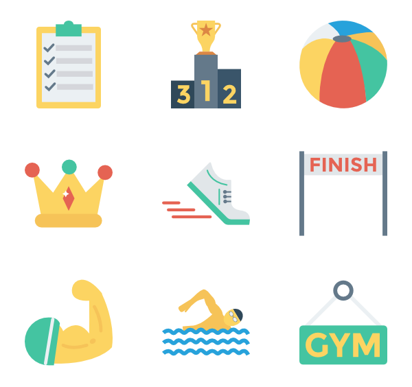 Gymnastics icons free vector. Gym clipart flat graphic