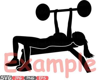 Woman press exercising fitness. Gym clipart gym bench