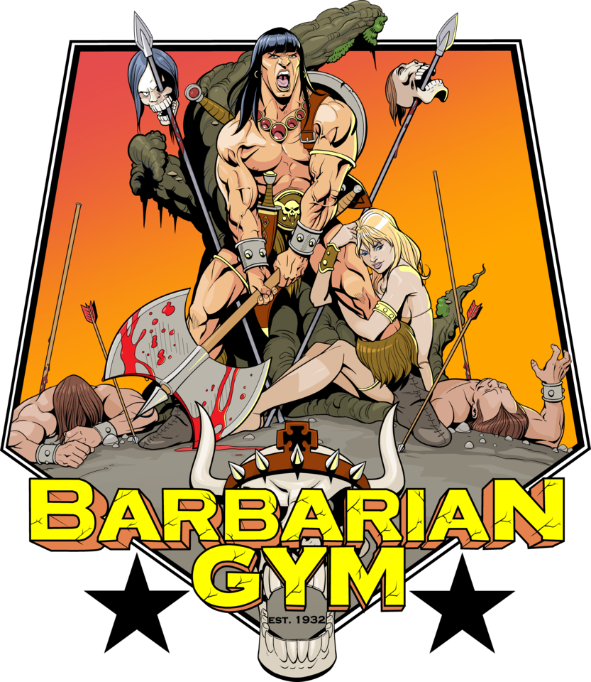 Gym clipart gym interior. Barbarian t shirt artwork