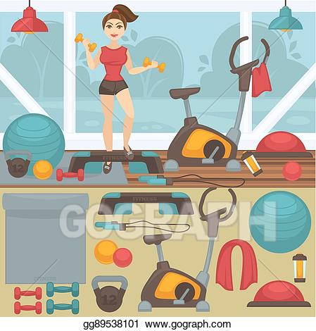Vector illustration fitness equipment. Gym clipart gym interior