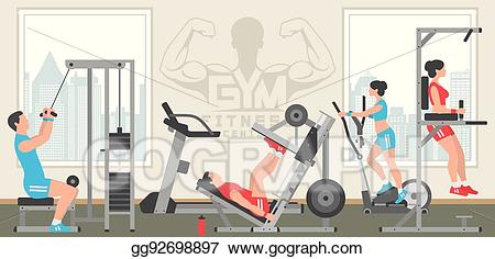 Gym clipart gym interior. Vector stock flat illustration