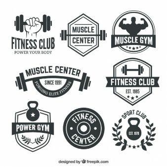 Gym clipart gym logo. Fitness club badges