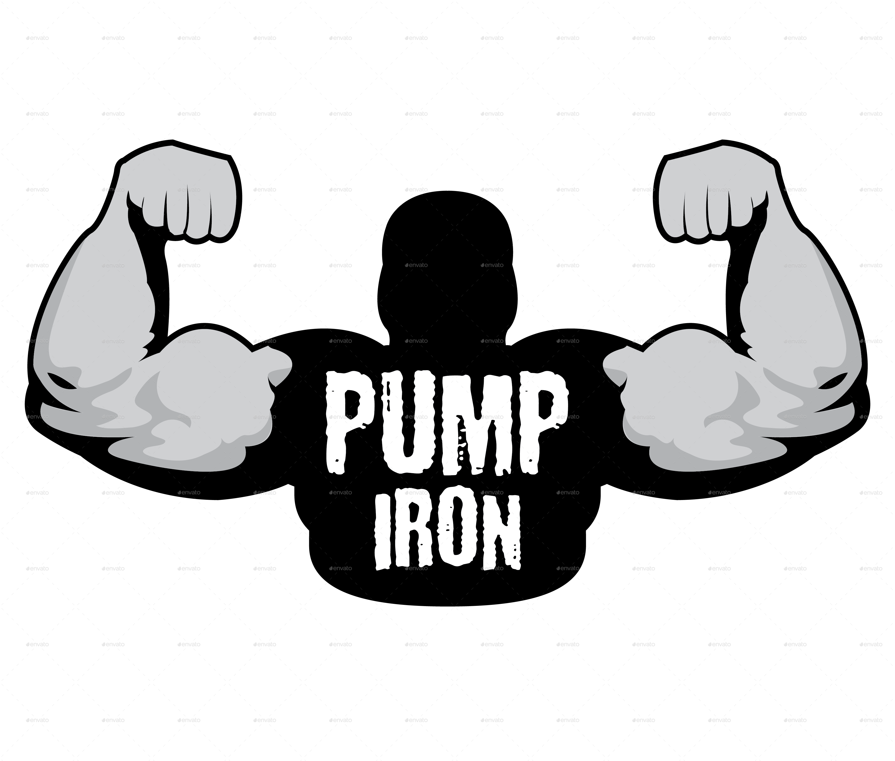 Gym clipart muscle arm. Pump iron logo template