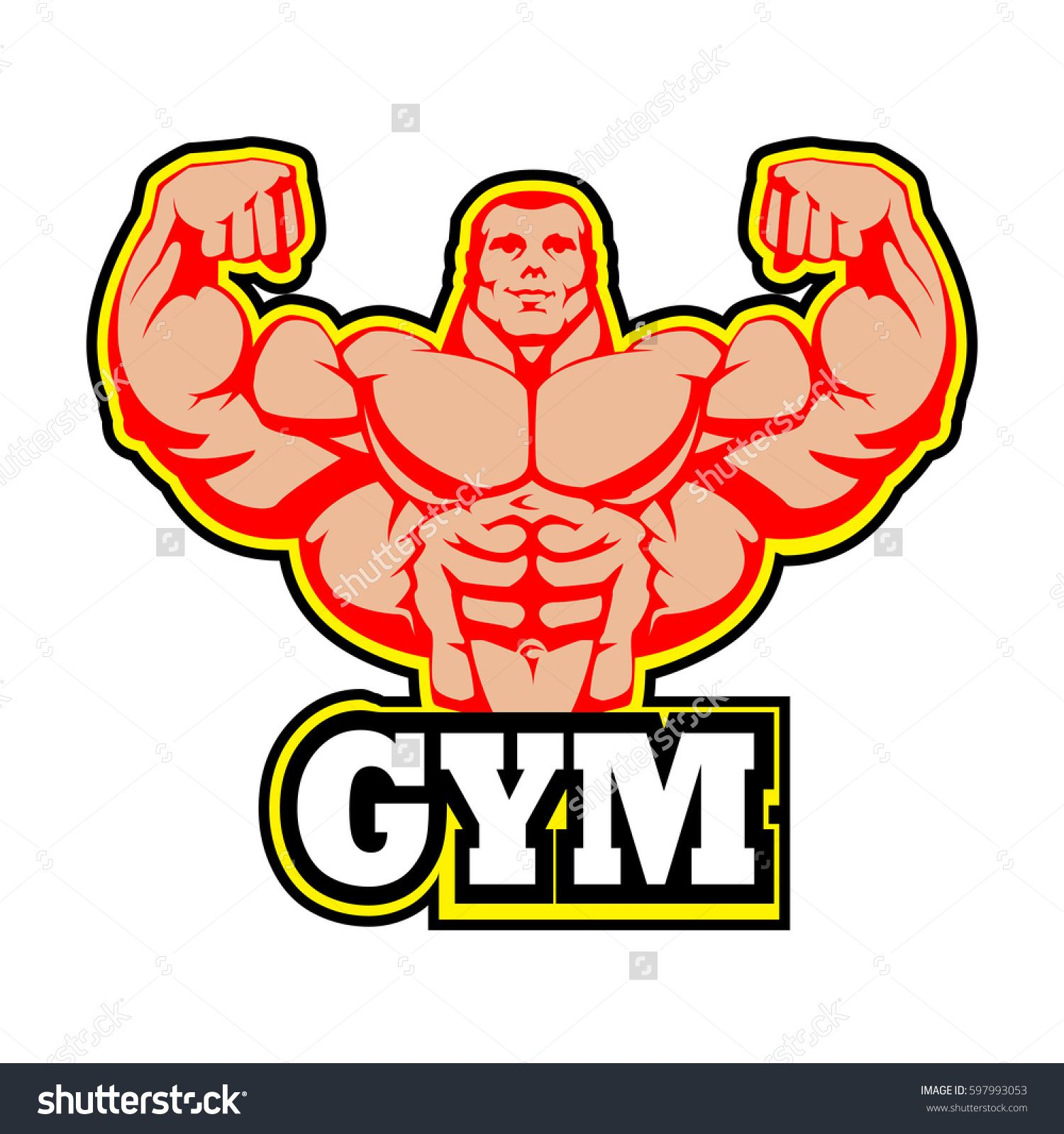 Logo vector design man. Gym clipart muscle arm