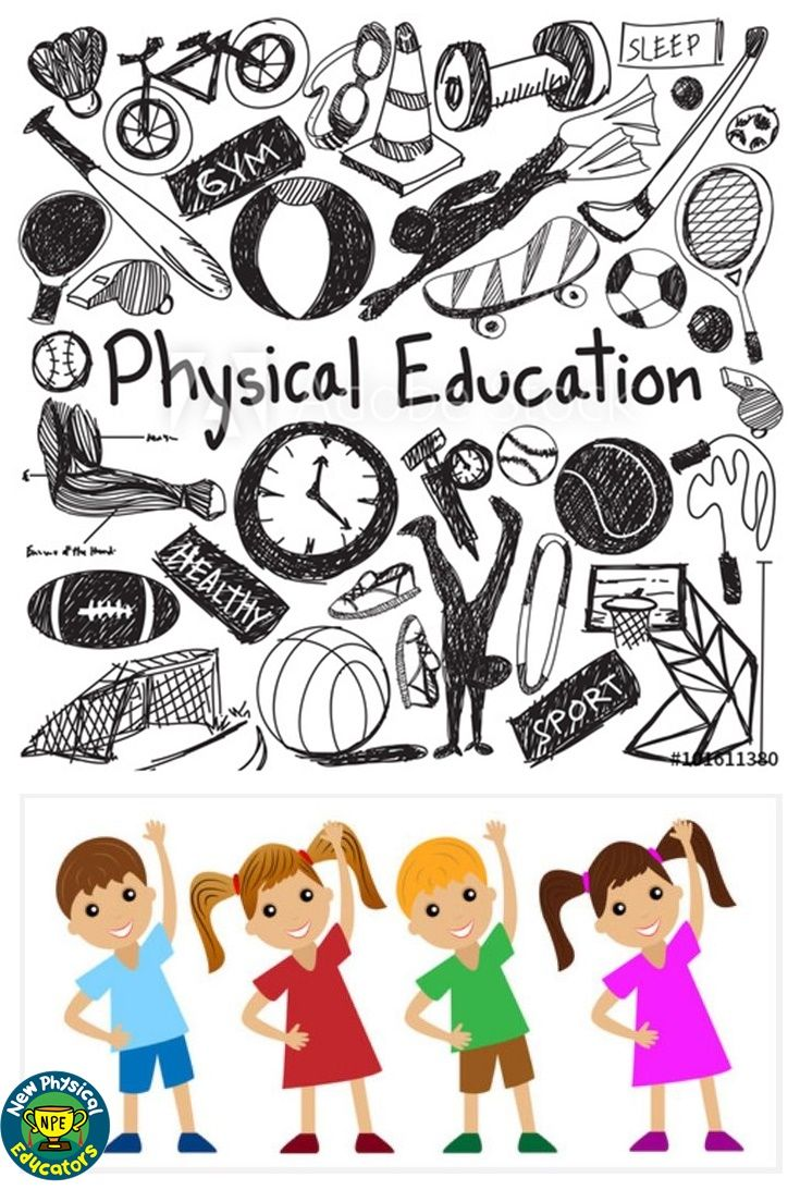 Gym clipart physical fitness. F education exercise doodle