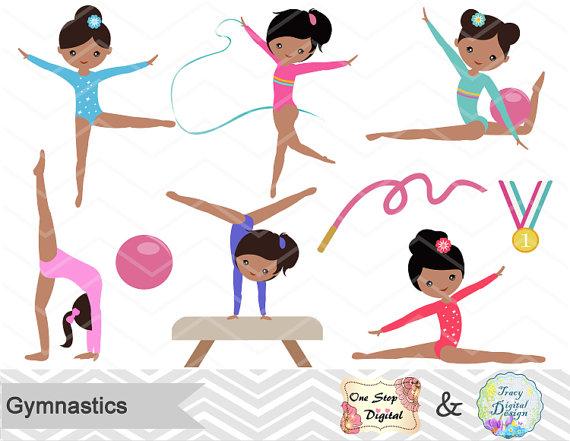 Gymnast clipart preschool gymnastics. Digital girls clip