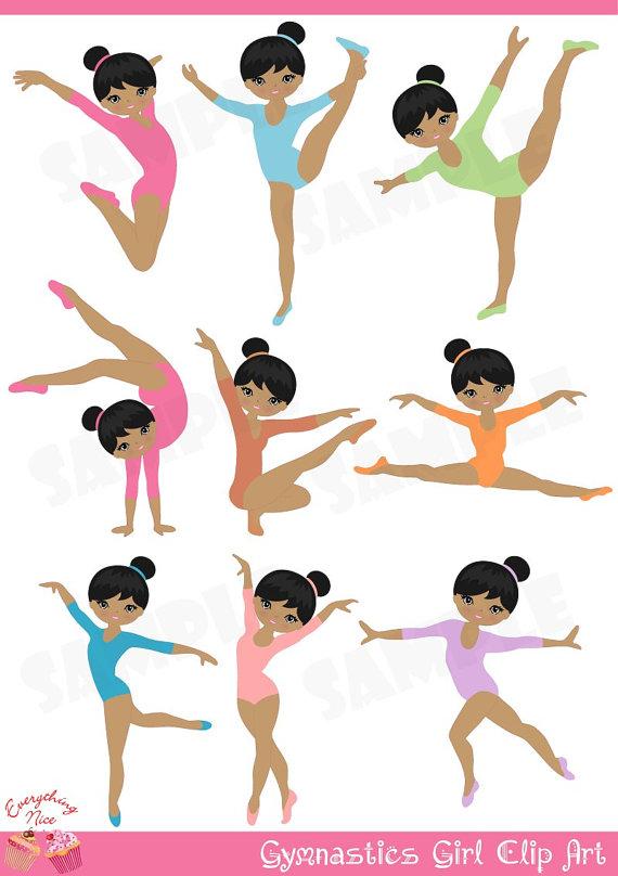 Gymnast clipart ballet. Afro gymnastics girl clip