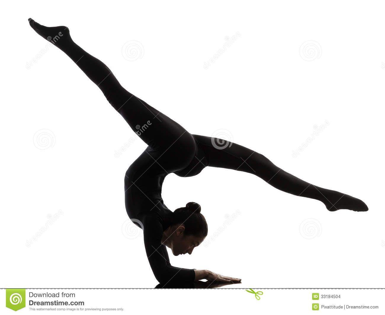 Gymnastics clipart flexible. Silhouette practicing gymnastic
