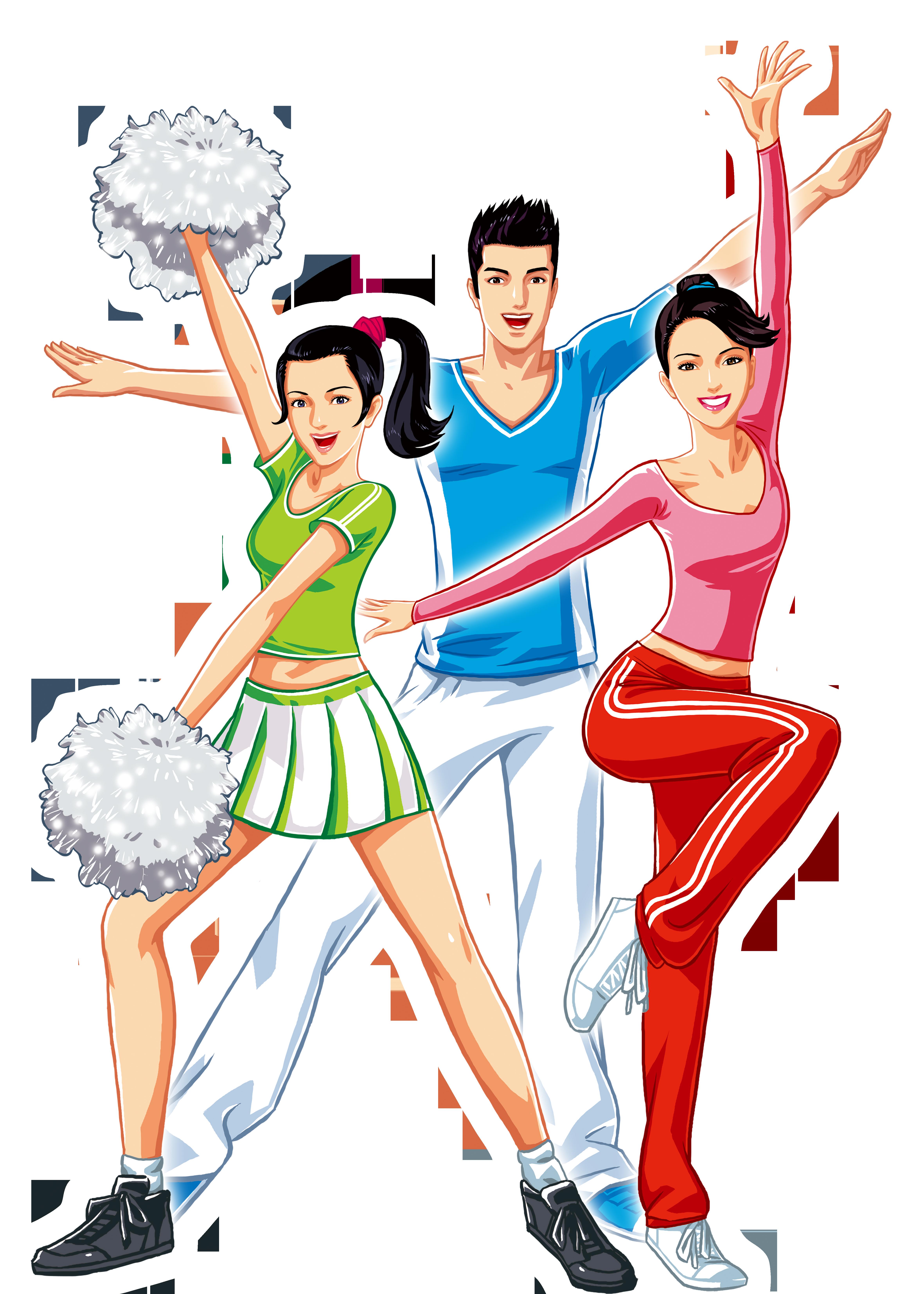 Gymnastics clipart dance cheer. Cartoon poster download cheerleading