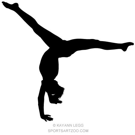Gymnastics clipart dance cheer. Female gymnast silhouette executing
