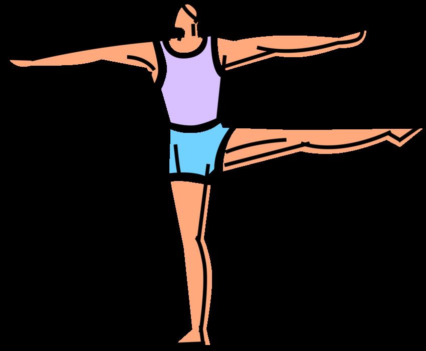 Gymnast balances on one. Pe clipart gymnastics