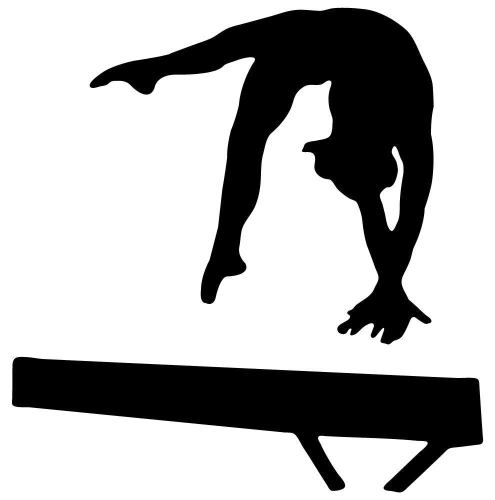 Gymnastics silhouette panda free. Gymnast clipart leap