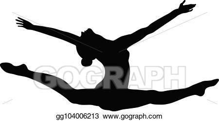 Vector art split exercise. Gymnast clipart leap