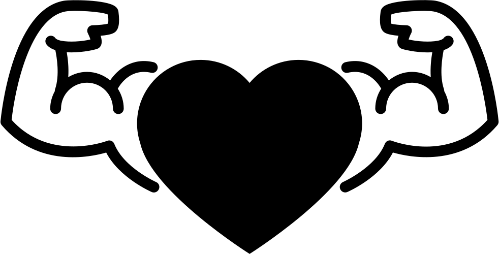 Heart with muscular arms. Gymnast clipart male
