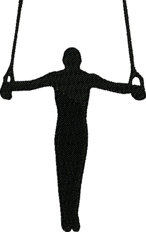 Gymnast clipart male. Gymnastics embroidery design sports