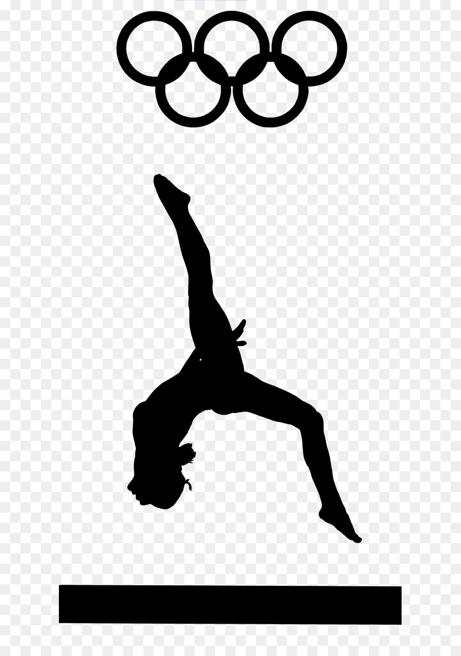 Hand cartoon silhouette line. Gymnast clipart olympic gymnastics
