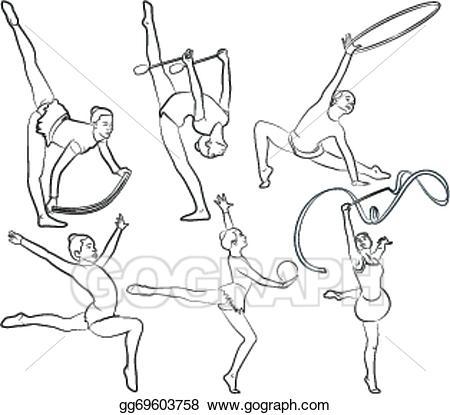 Vector stock rhythmic gymnastics. Gymnast clipart outline