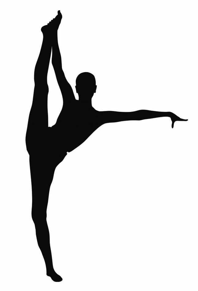 Gymnastics black and white. Gymnast clipart outline