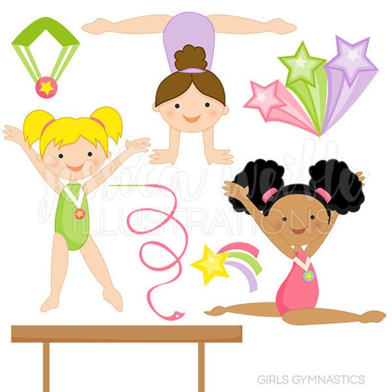 Girls cute digital for. Gymnast clipart preschool gymnastics