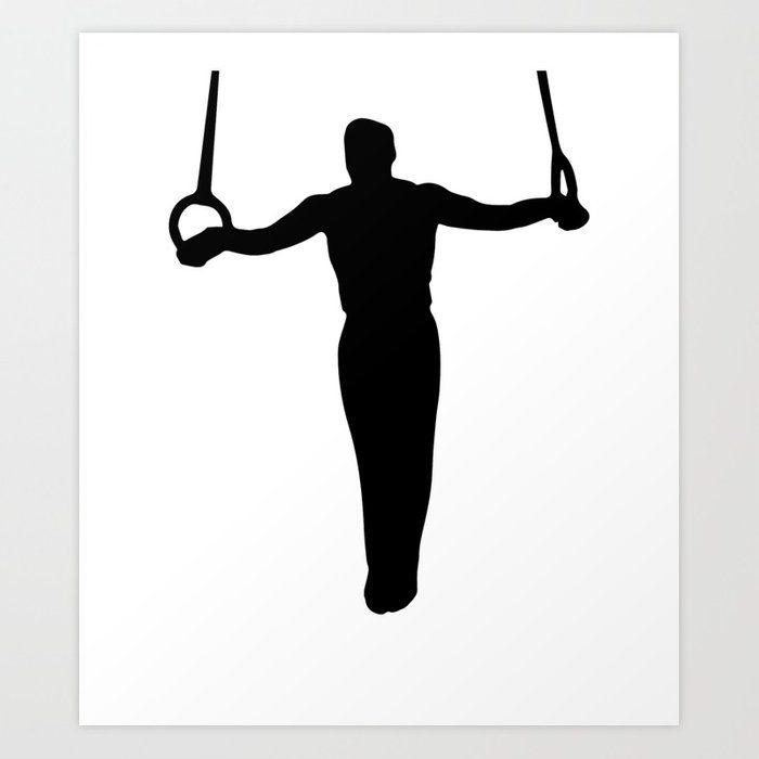 Gymnastics clipart iron cross. Gymnast art print by