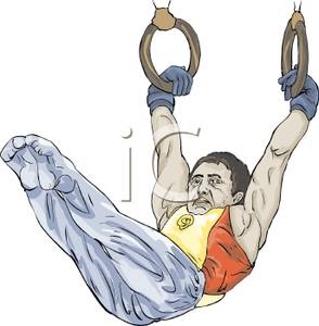 A man performing on. Gymnastics clipart ring
