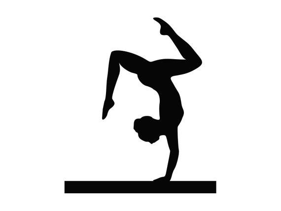 Gymnast gymnastic cut file. Gymnastics clipart svg