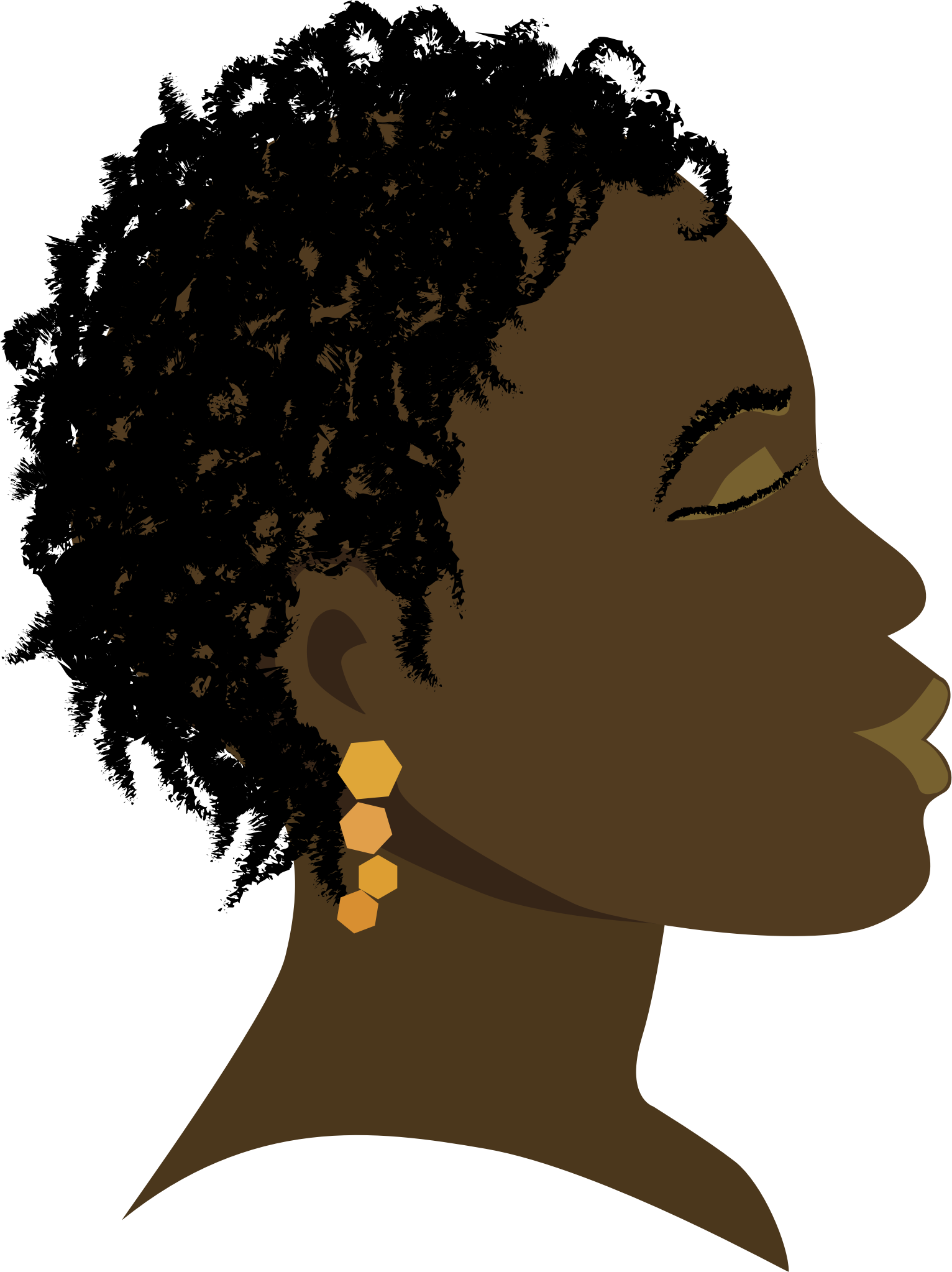 African girl profile big. Hair clipart afro