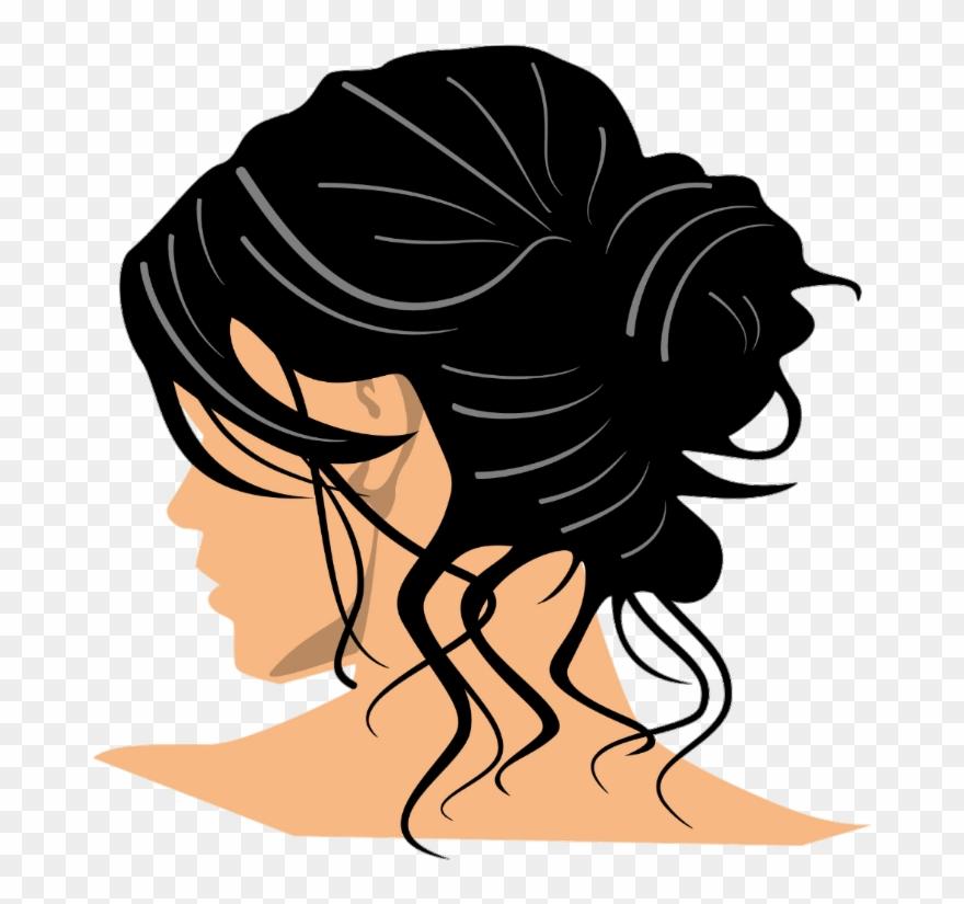 Lady messy clip art. Hair clipart bun hair
