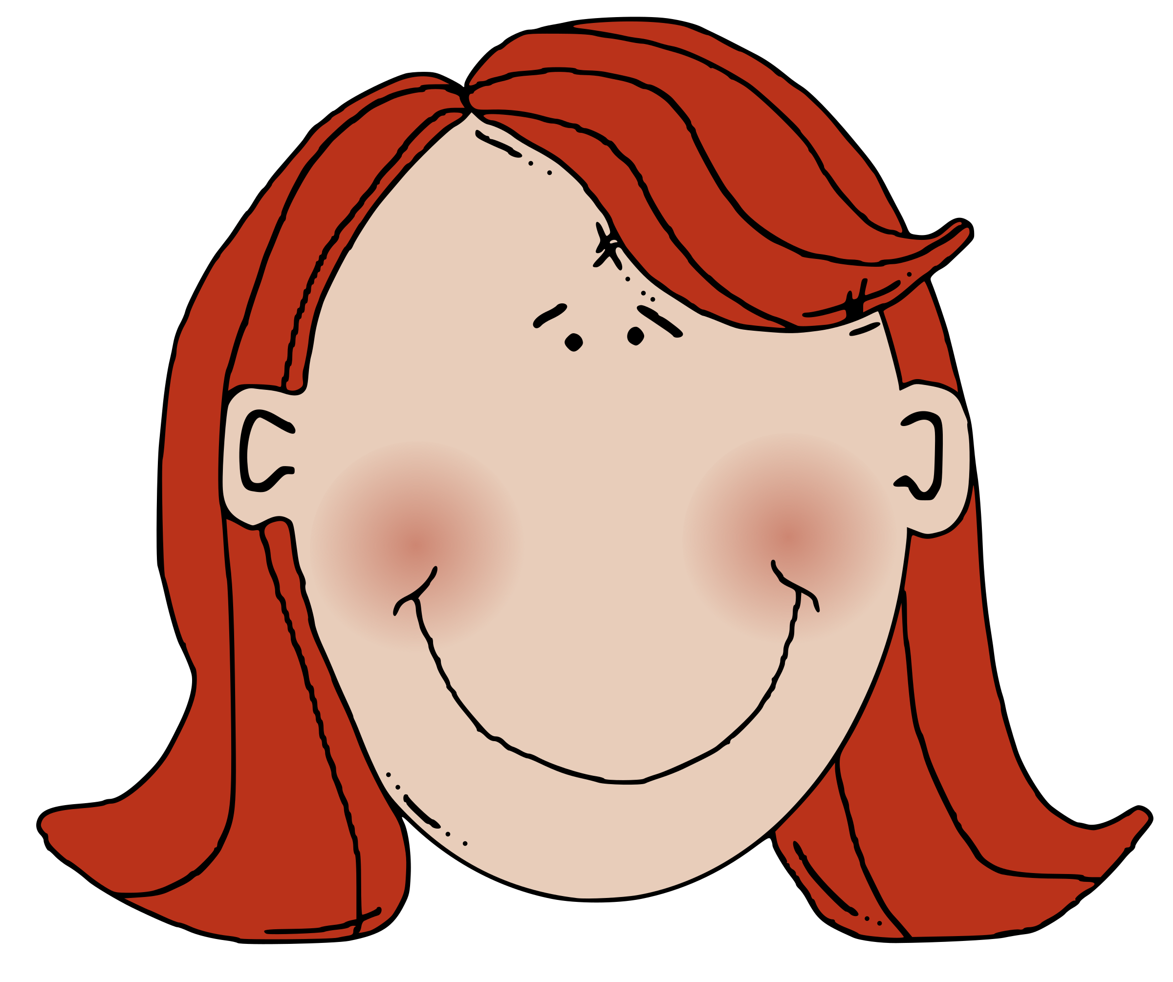 Hair clipart cool hair. Womans face with red