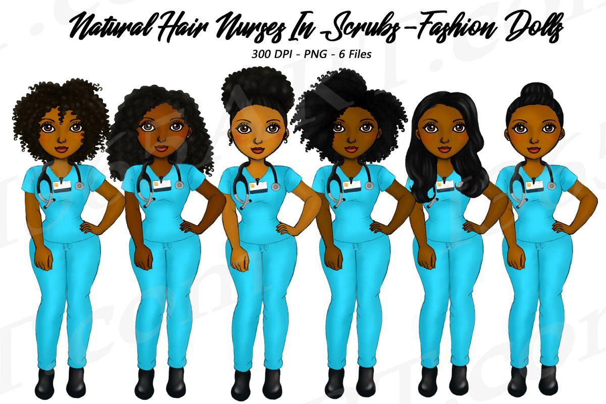 Hair clipart different hair. Natural nurse girls in