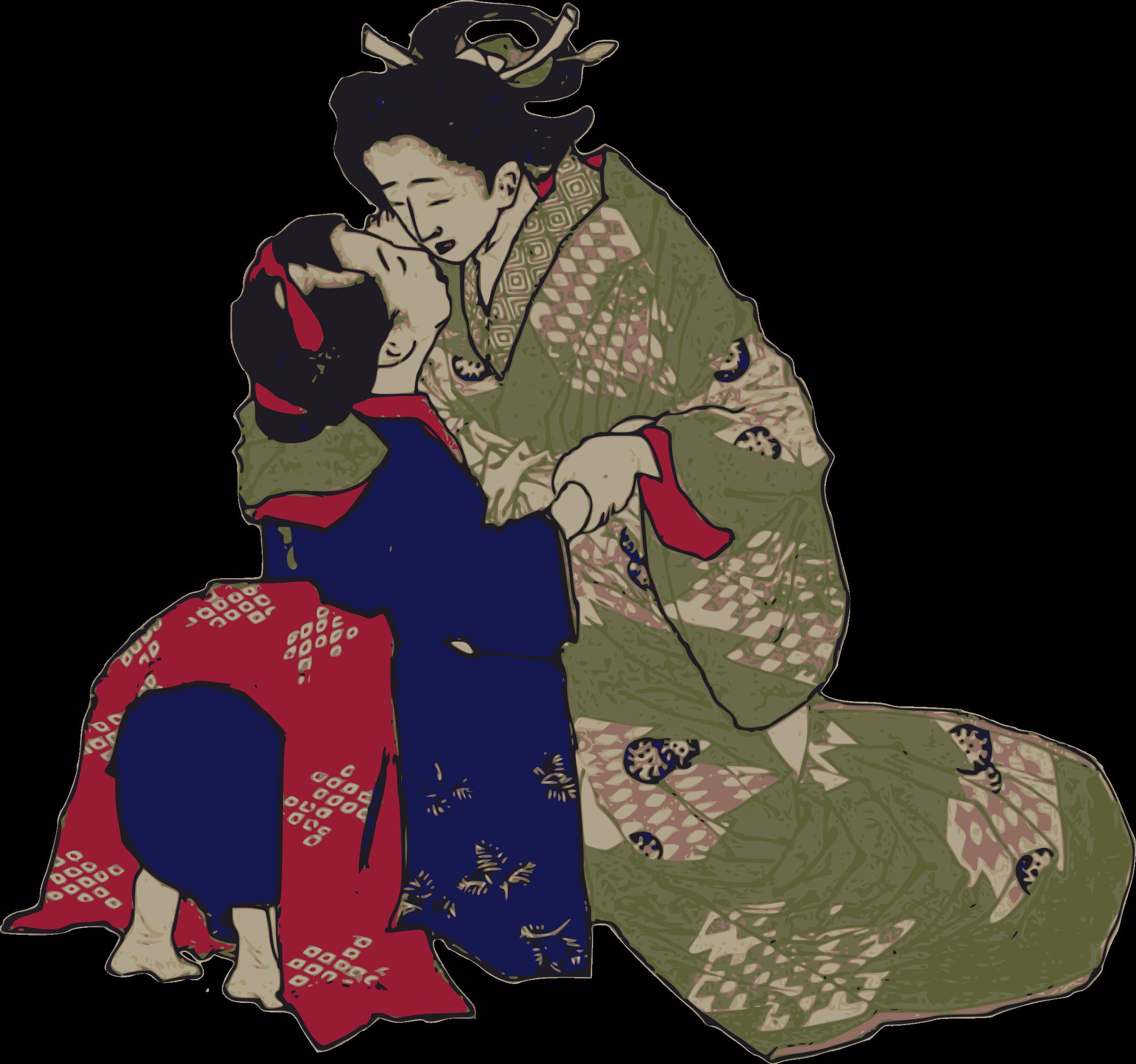 Kissing geisha icons png. Kiss clipart realistic
