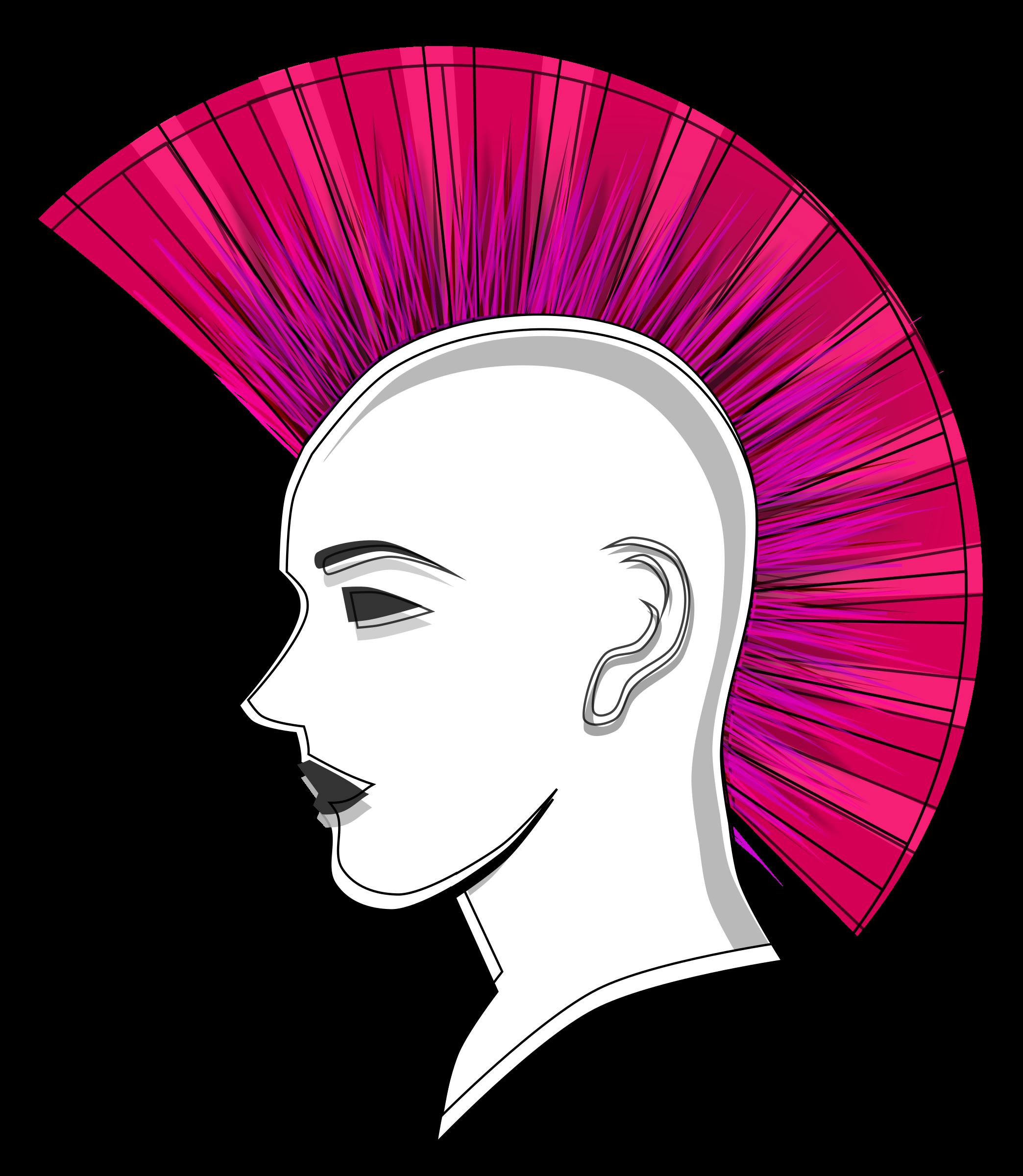 Stylised punk mohawk big. Hair clipart pink