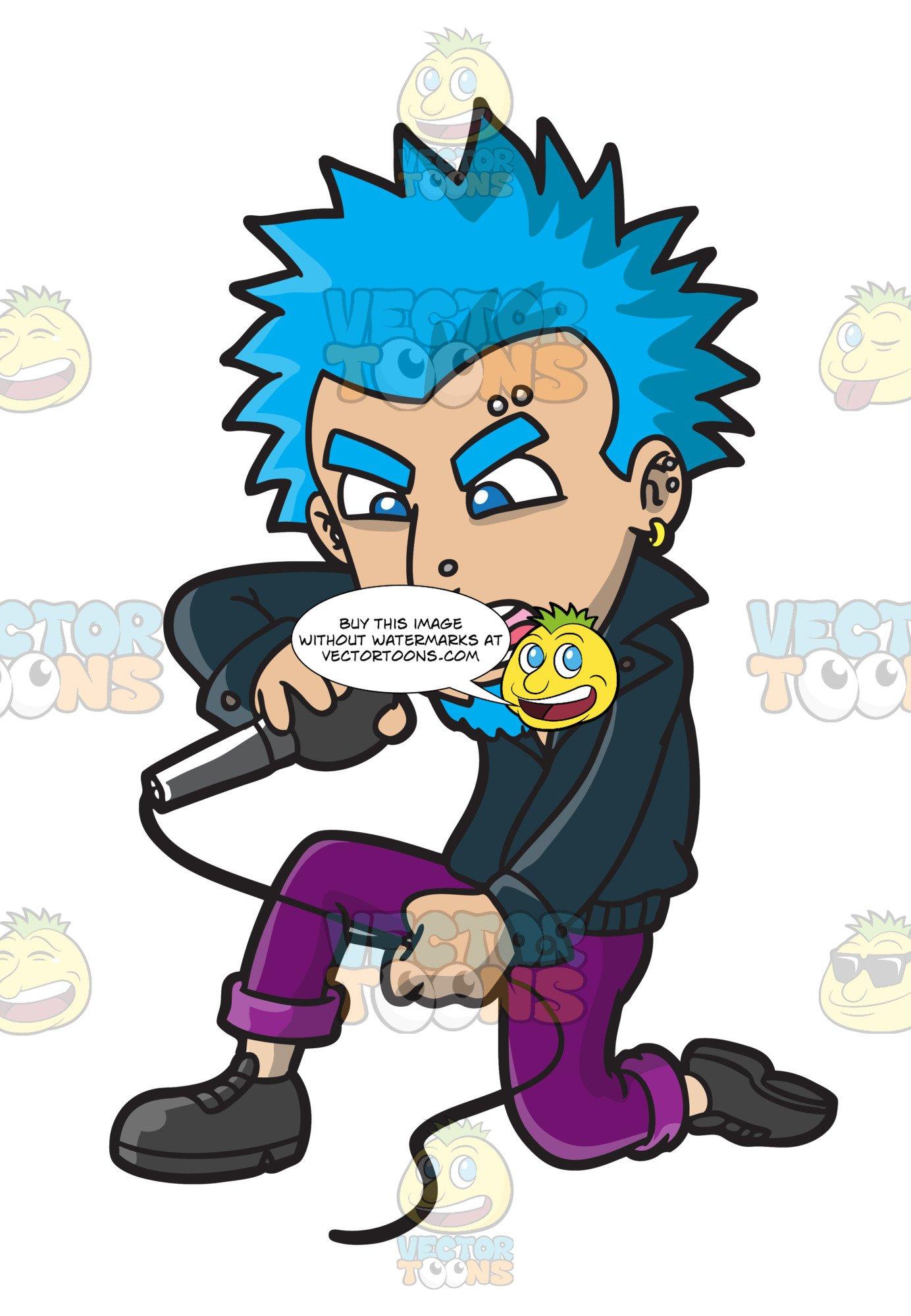 A rock singer with. Hair clipart punk hair