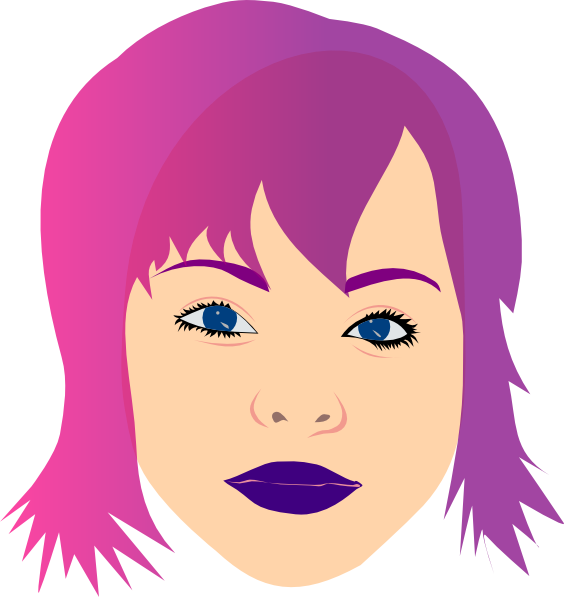 Purple clipart lips. Girl with hair clip