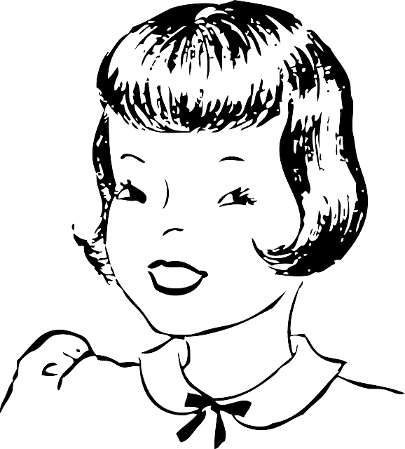 Outline cartoon style smiling. Neck clipart girl short hair