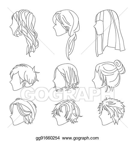 See clipart sketch. Vector collection hairstyle side