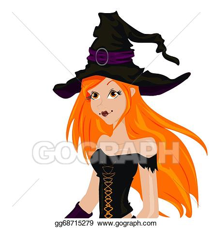 Vector stock beautiful sexy. Witch clipart red hair