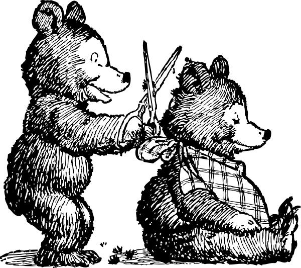Bear gets clip art. Haircut clipart