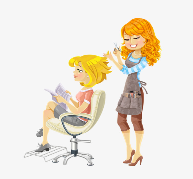 Cartoon the lady reading. Haircut clipart