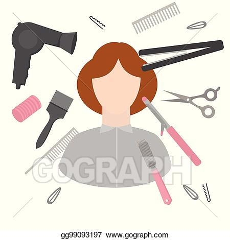 Vector art flat design. Haircut clipart accessory
