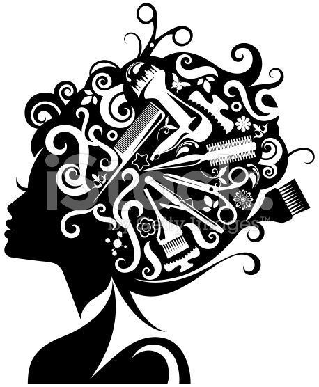 Haircut clipart accessory. Lady s silhouette with