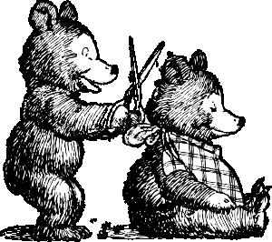 Bear gets clip art. Haircut clipart animated