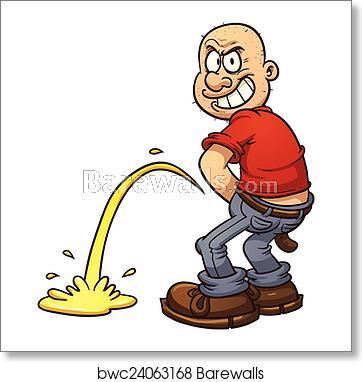 Haircut clipart mischievous. Man urinating art print