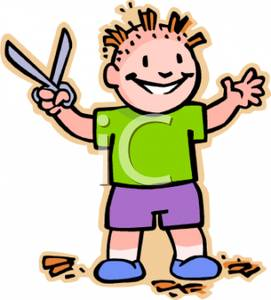 Haircut clipart mischievous. A colorful cartoon of