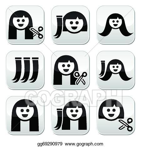 Vector extensions haircut buttons. Hairdresser clipart hair extension