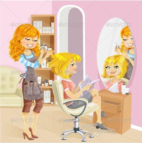Pin on lesleys solon. Hairdresser clipart little girl brushing hair